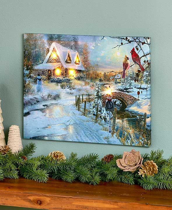 Decorate A Wall Of Your Home With The Lighted Winter Scene Canvas Wall Art It Features Lovely Intricately Detai Led Wall Art Country Wall Art Canvas Wall Art