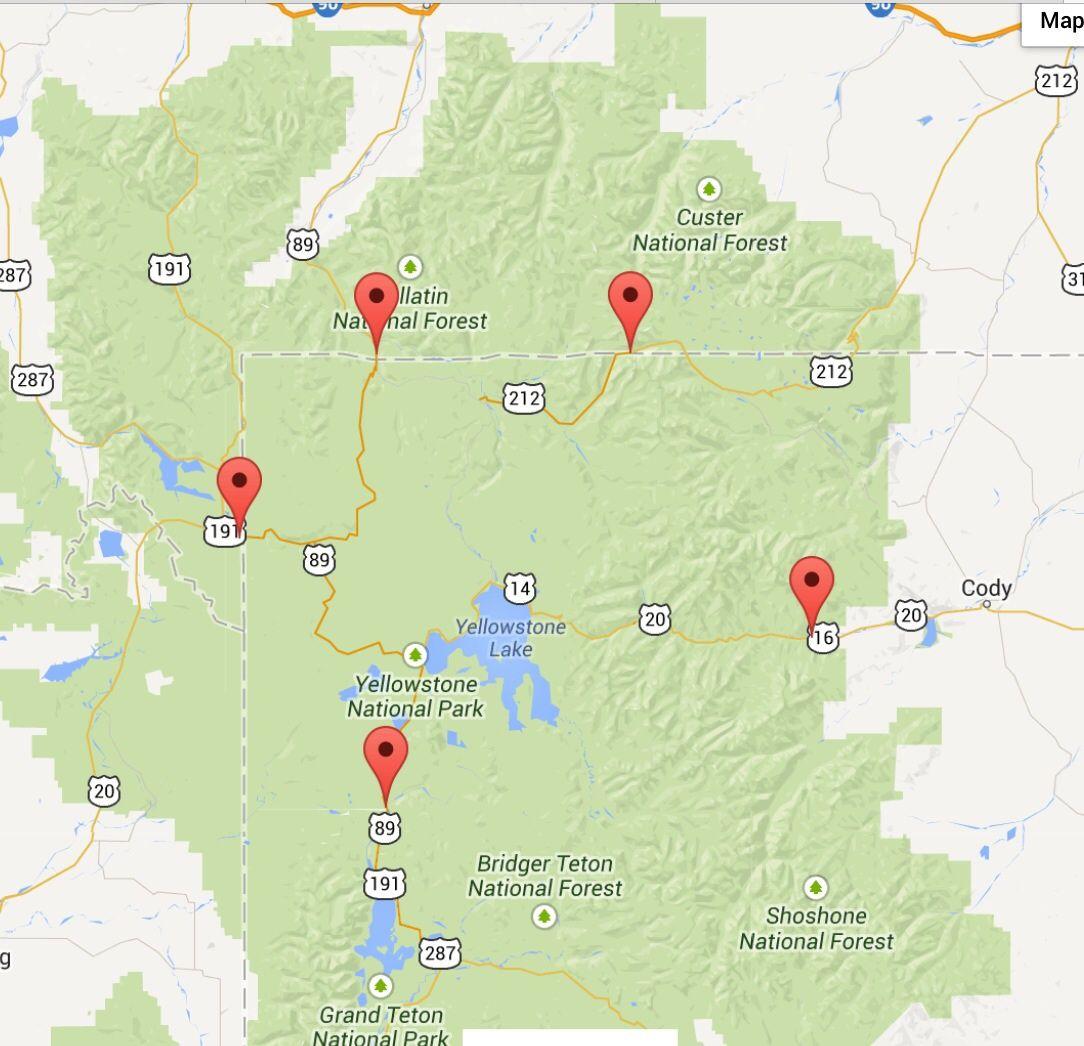 Yellowstone map itinerary