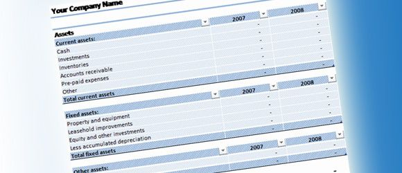 balance sheet template for excel 2007  free spre