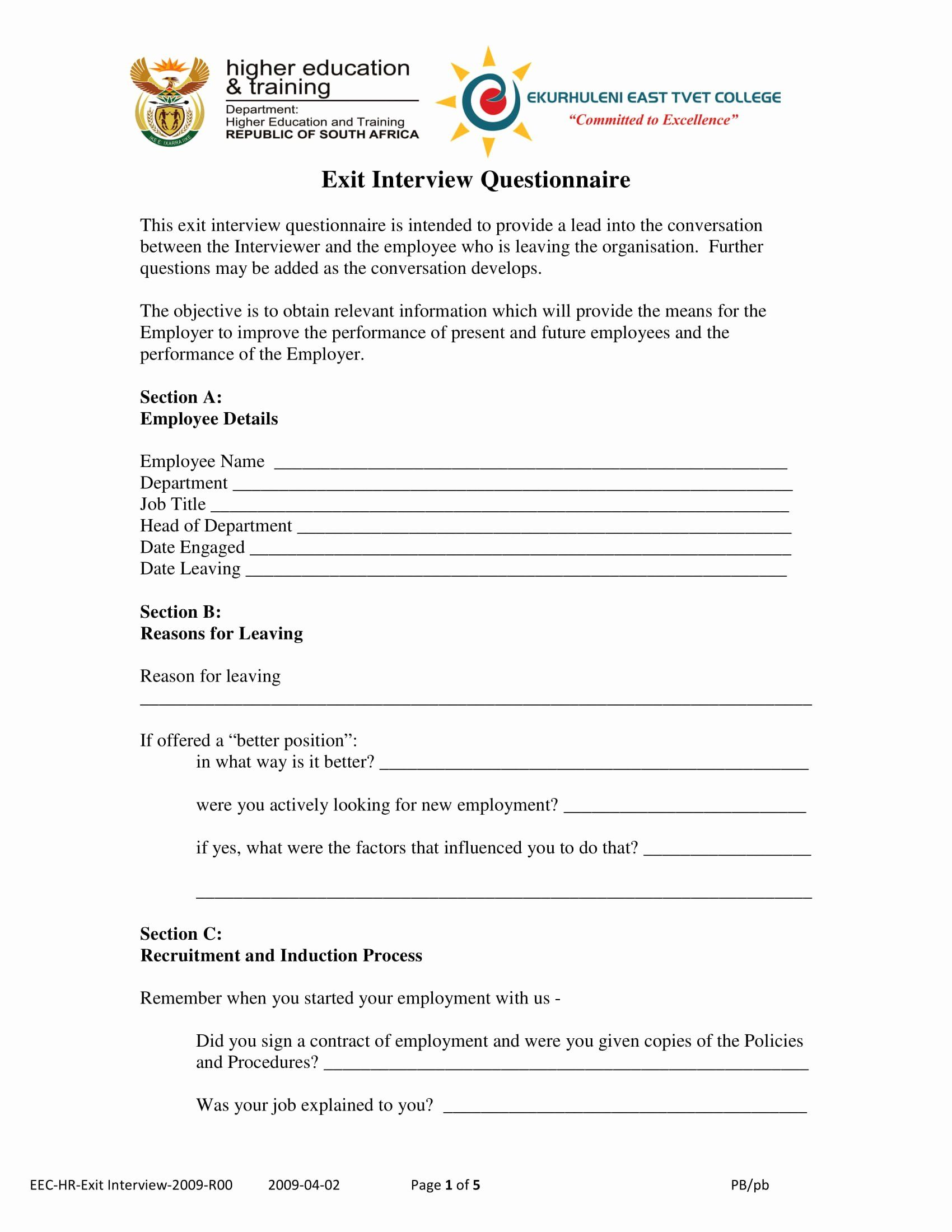 25 Employee Exit Interview form in 2020 Business