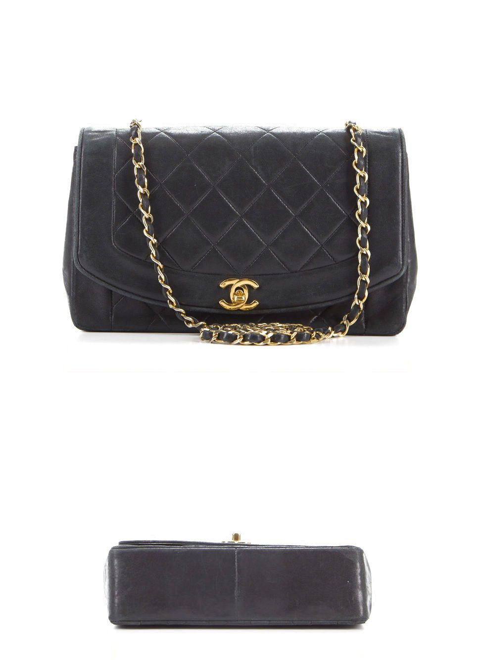 Vintage Chanel Black Lambskin Quilted Leather Cc Lock Medium Chic Bag 1675 0
