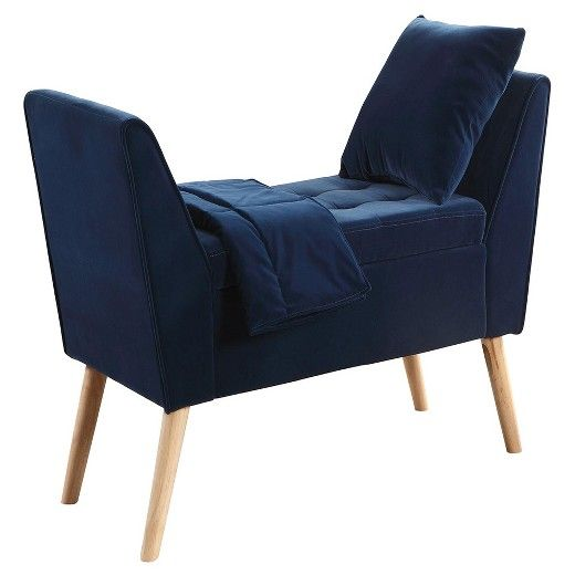 The Navy Blue Suede Mid Century Tufted Storage Bench With Pillow And A Blanket Boasts A Trendy Birch Wooden Legs That Is Sure To Please Upholstered Storage Bench Tufted Storage Bench