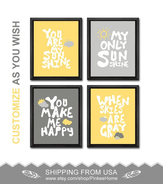 yellow gray you are my sunshine nursery wall decor sun clouds baby ...