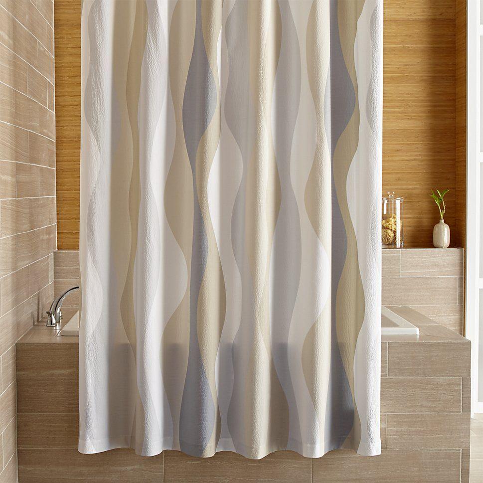 Italian Seersucker Neutral Shower Curtain Crate And Barrel