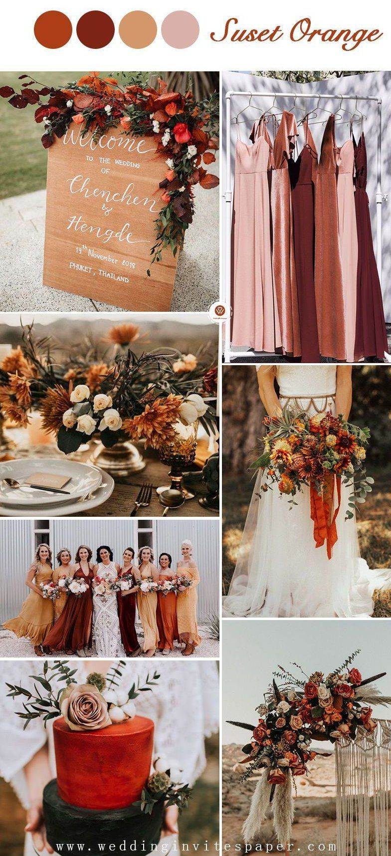 Sunset Wedding Colors Sunset Wedding Colors Wedding Themes Fall Wedding Theme Colors [ 1716 x 784 Pixel ]