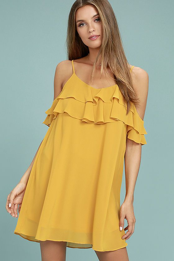 89e27b90667b You ll be the coolest girl in the crowd with the Impress the Best Yellow Off -the-Shoulder Dress! Woven poly falls from adjustable straps into a tiered