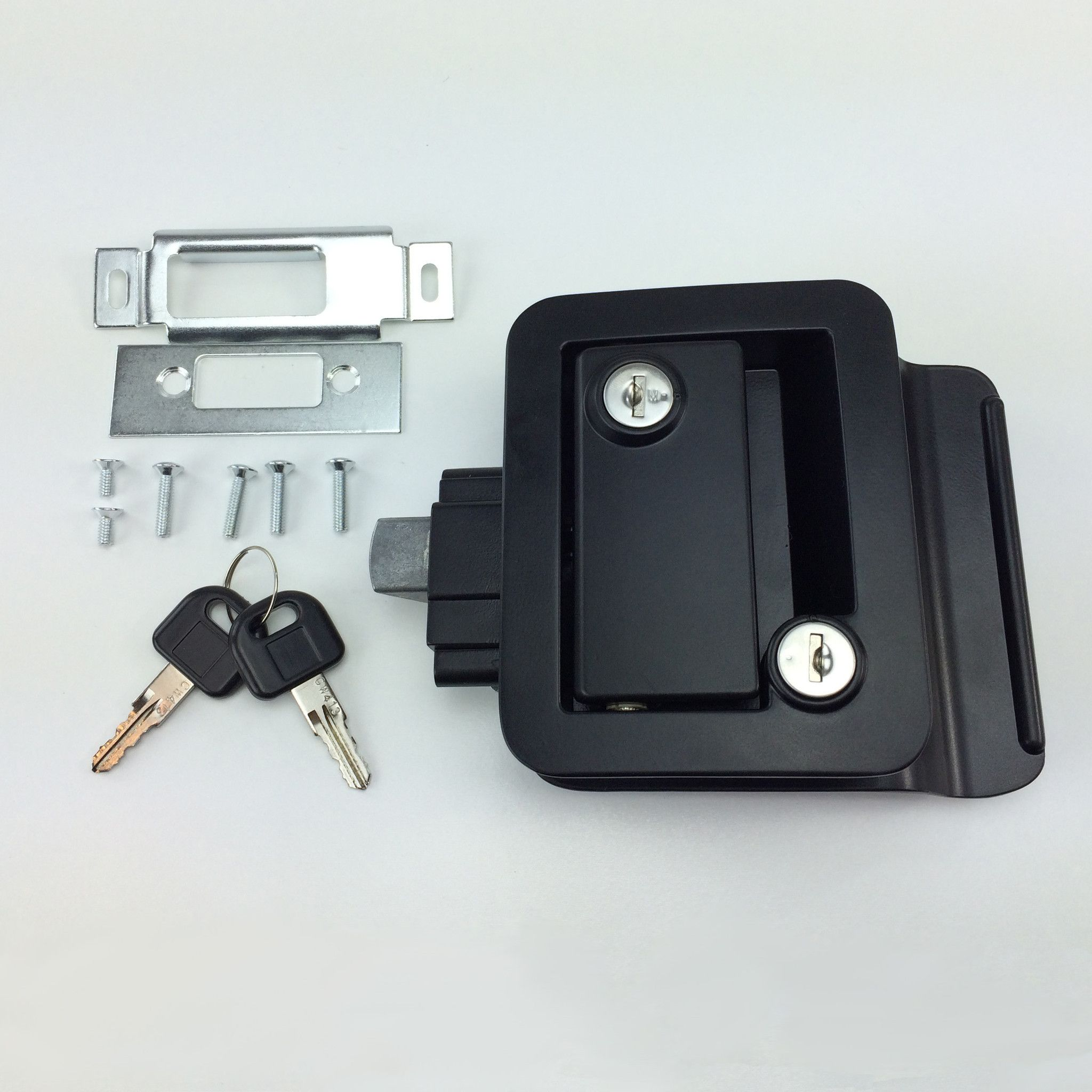 Black RV Paddle Entry Door Lock Latch with Deadbolt by