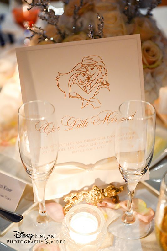 The Little Mermaid inspired wedding reception table card