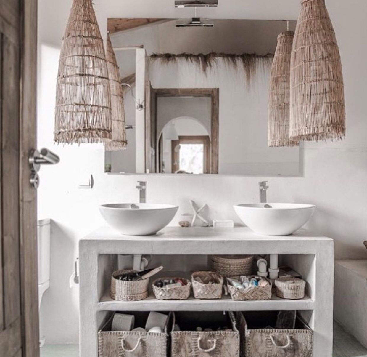 Interior design of bathroom natural textiles  places  pinterest  natural bath and house