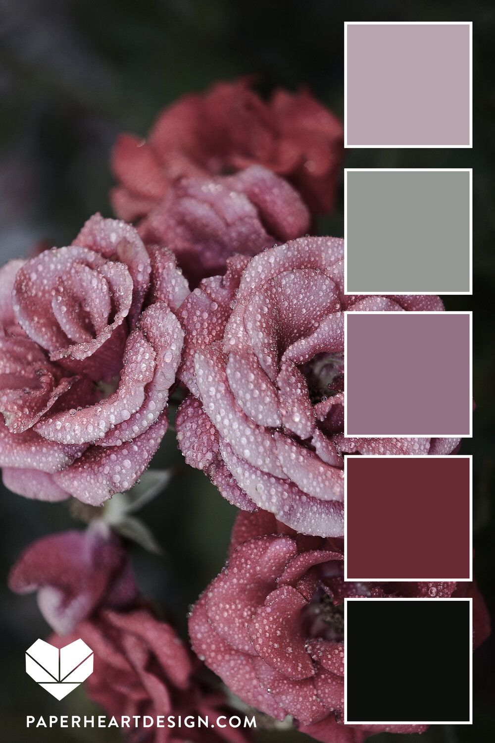 Dusty Floral Color Palette Muted Pinks And Rose Colors With Sage Green And Dark Gray Color Schemes Colour Palettes Color Schemes Floral Color