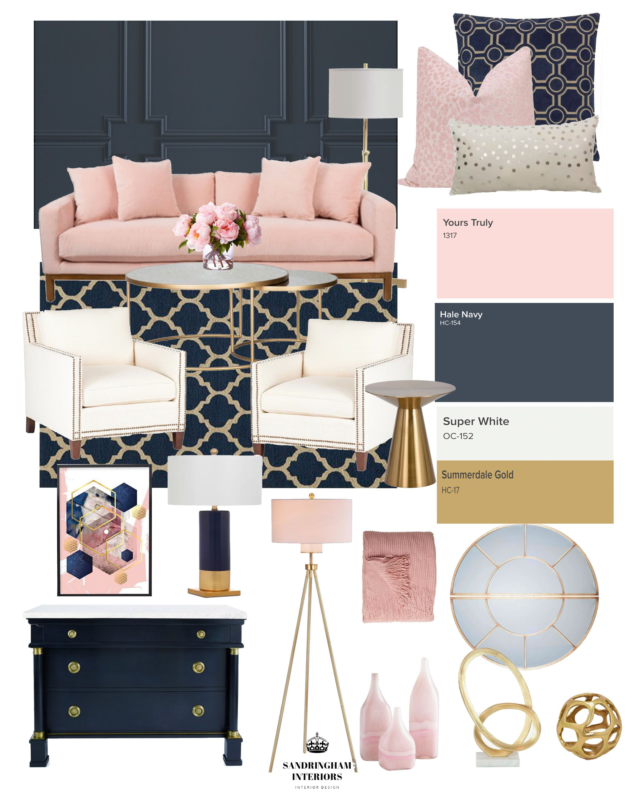 Create The Look Glam Navy Pink Living Room Pink Living Room Gold Living Room Pink Living Room Decor