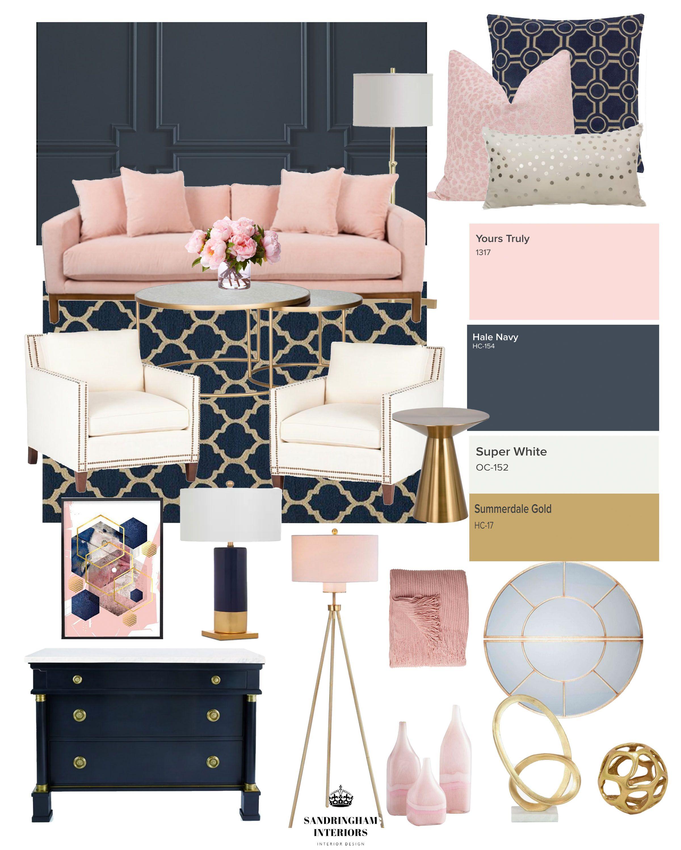 Navy Blue Blush And Gold Living Room Novocom Top