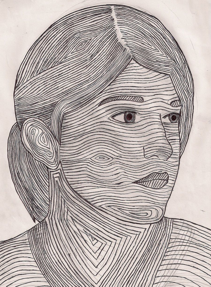 Contour Line Landscape Drawing : Self portrait and contour lines in