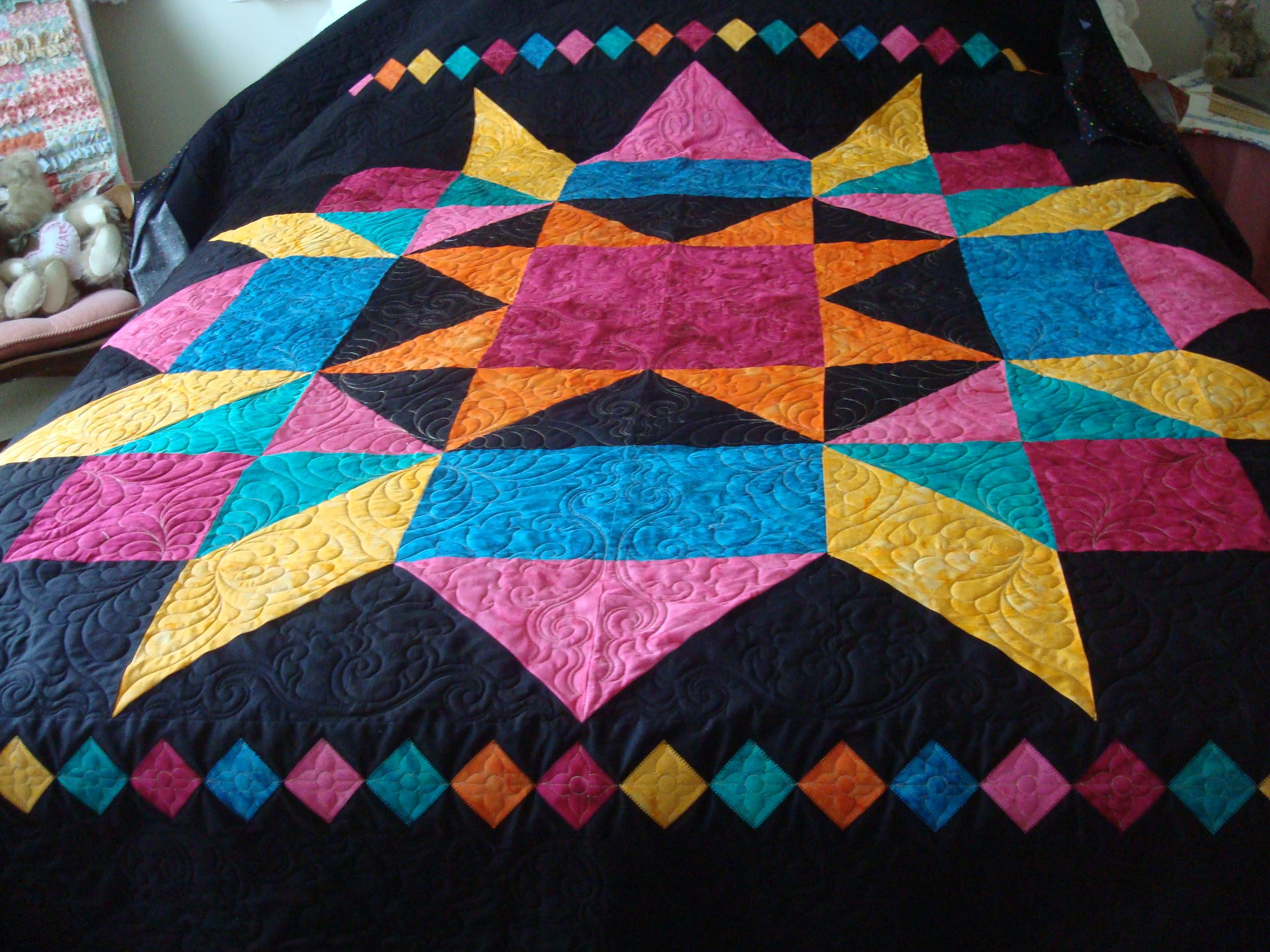 Large Swoon block quilt from batiks. | Quilts - My Work Over the ... : large star quilt pattern - Adamdwight.com