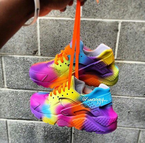 e336a53df484 Black Friday Rainbow Nike Air Huarache Womens Trainers