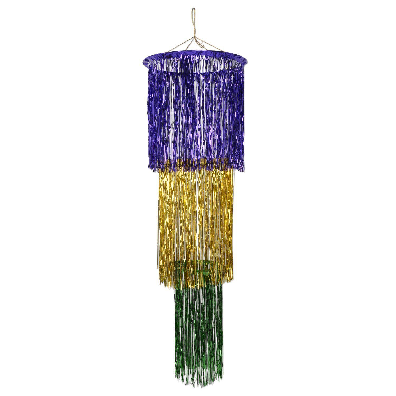 3 tier shimmering chandelier mardi gras danglers 6ct mardi gras 3 tier shimmering chandelier mardi gras danglers 6ct arubaitofo Choice Image