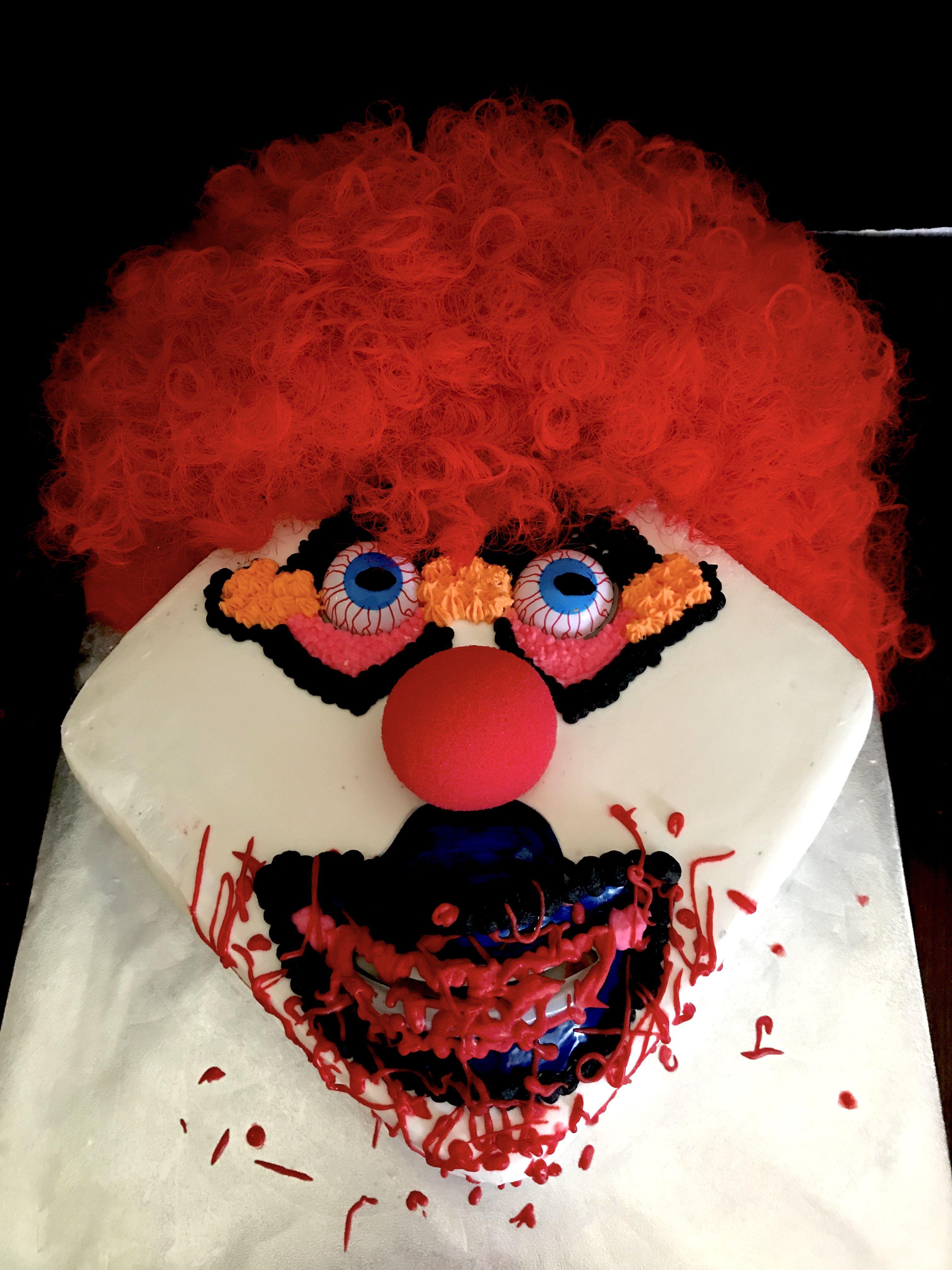 Scary Clown themed Happy Birthday Cake