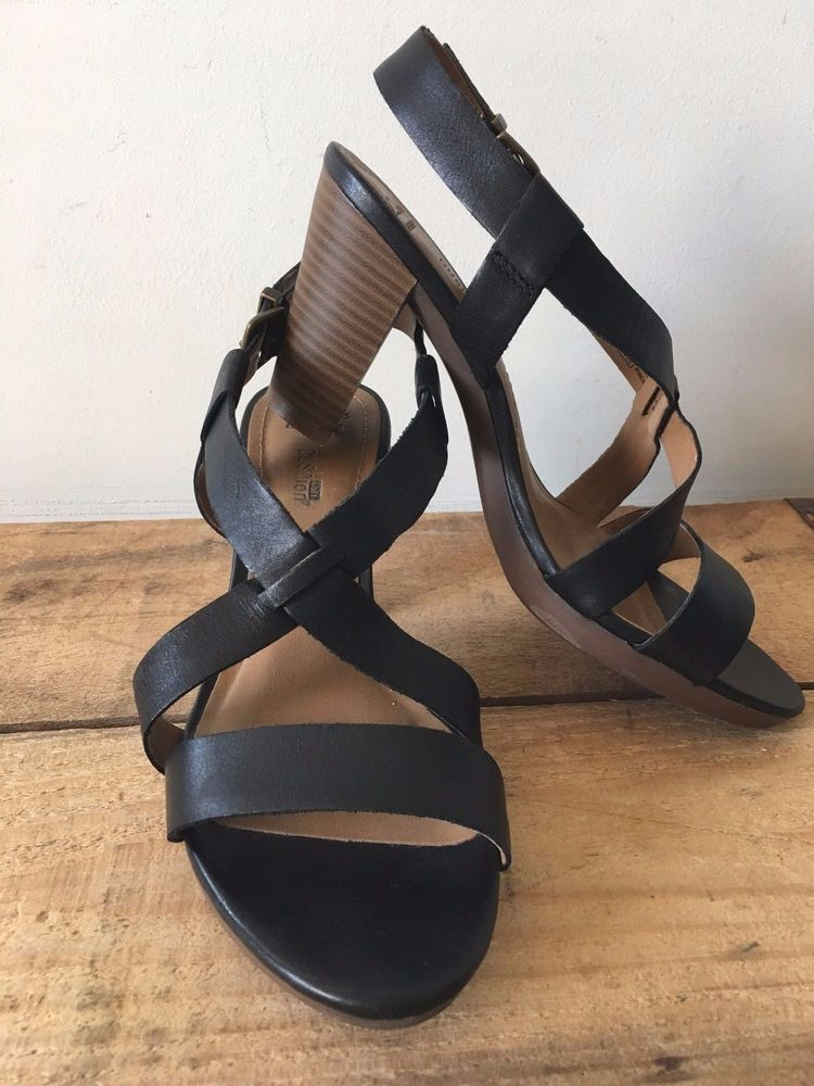 78fa96a61cb UK SIZE 5 WOMENS CLARKS CUSHION SOFT BLACK LEATHER STRAPPY SANDALS HEELS