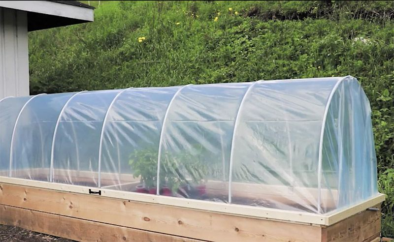 Hinged Hoop House Raised Bed Garden With Images Raised Garden