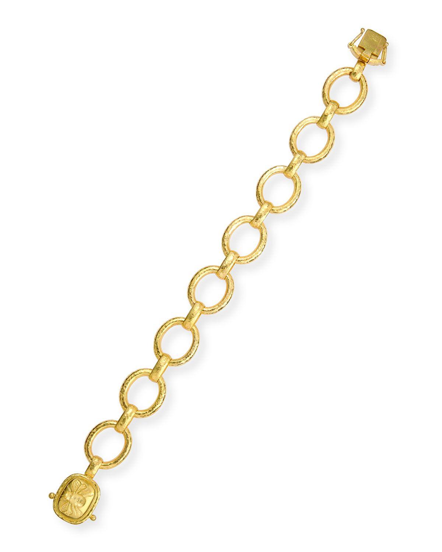 Womenus metallic k gold link bracelet with fat bee clasp bees