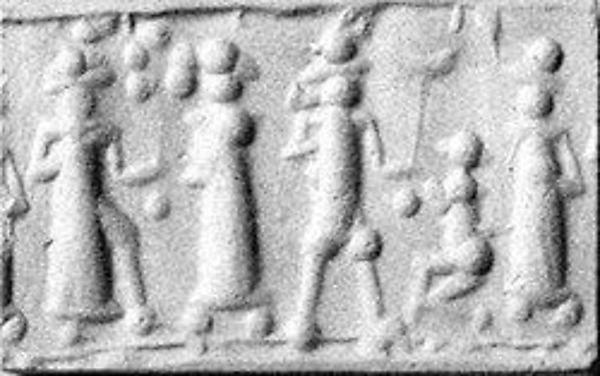 Cylinder seal  Period:Mitanni Date:ca. 15th–13th century B.C. Geography:Mesopotamia or Syria Culture:Mitanni Medium:Hematite Dimensions:H. 13/16 in. (2.1 cm); Diam. 7/16 in. (1.1 cm)