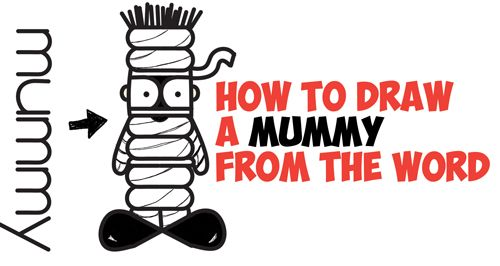 how to draw a cartoon mummy word toon cartoon easy step by step drawing tutorial for kids
