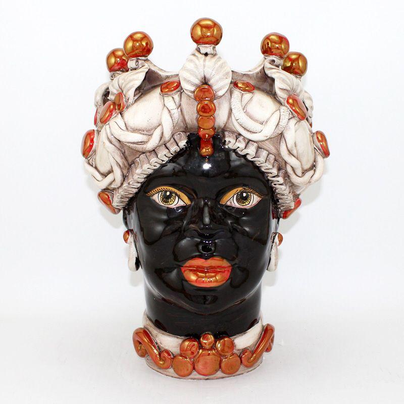 Testa Di Moro Ceramica Verus.Testa In Ceramica Di Caltagirone Modello Con Lustri Rosso Rubino