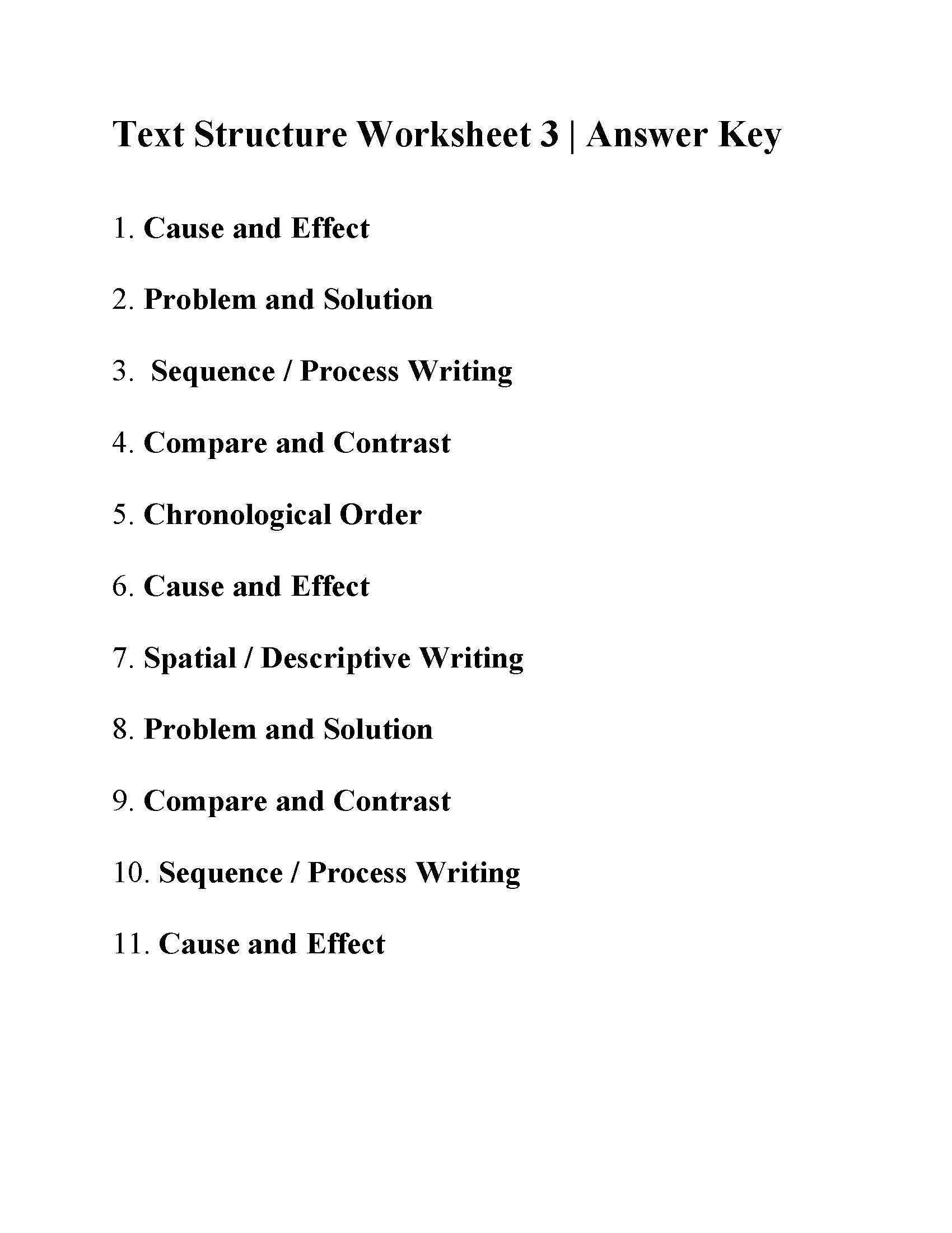 This Is The Answer Key For The Text Structure Worksheet 3 Text Structure Text Structure Worksheets Text Structure Examples