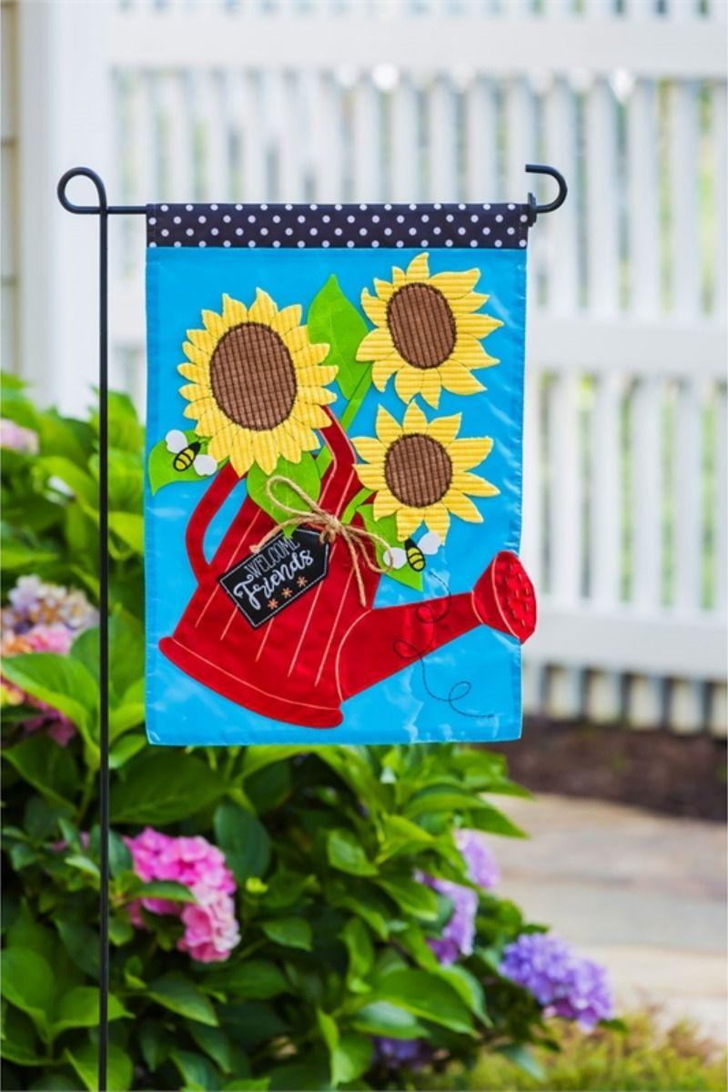 Sunflower Watering Can Applique Garden Flag In 2020 Garden Flags Watering Bold Artwork