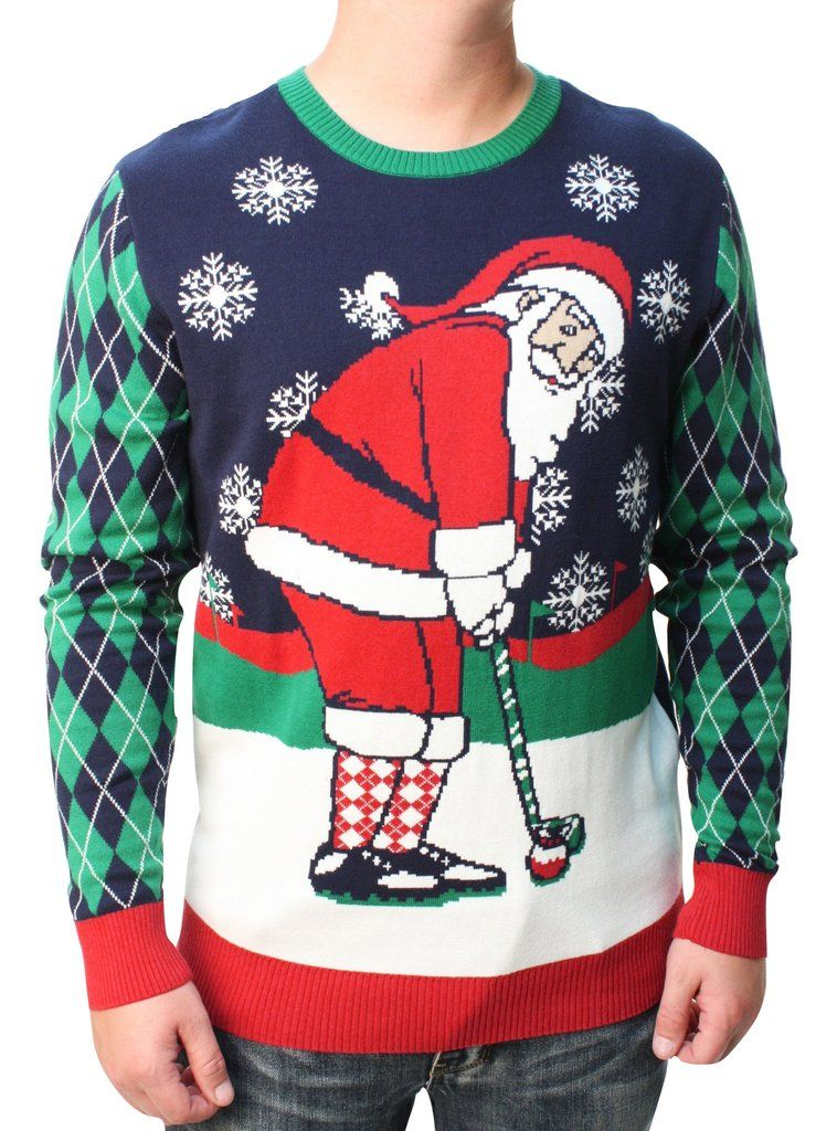 ugly christmas sweater men s golfing santa pullover sweatshirt