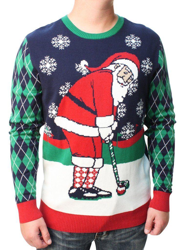 Ugly Christmas Sweater Mens Golfing Santa Pullover Sweatshirt