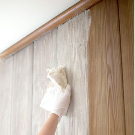 How to whitewash knotty pine walls for the home for Wood paneling painted white