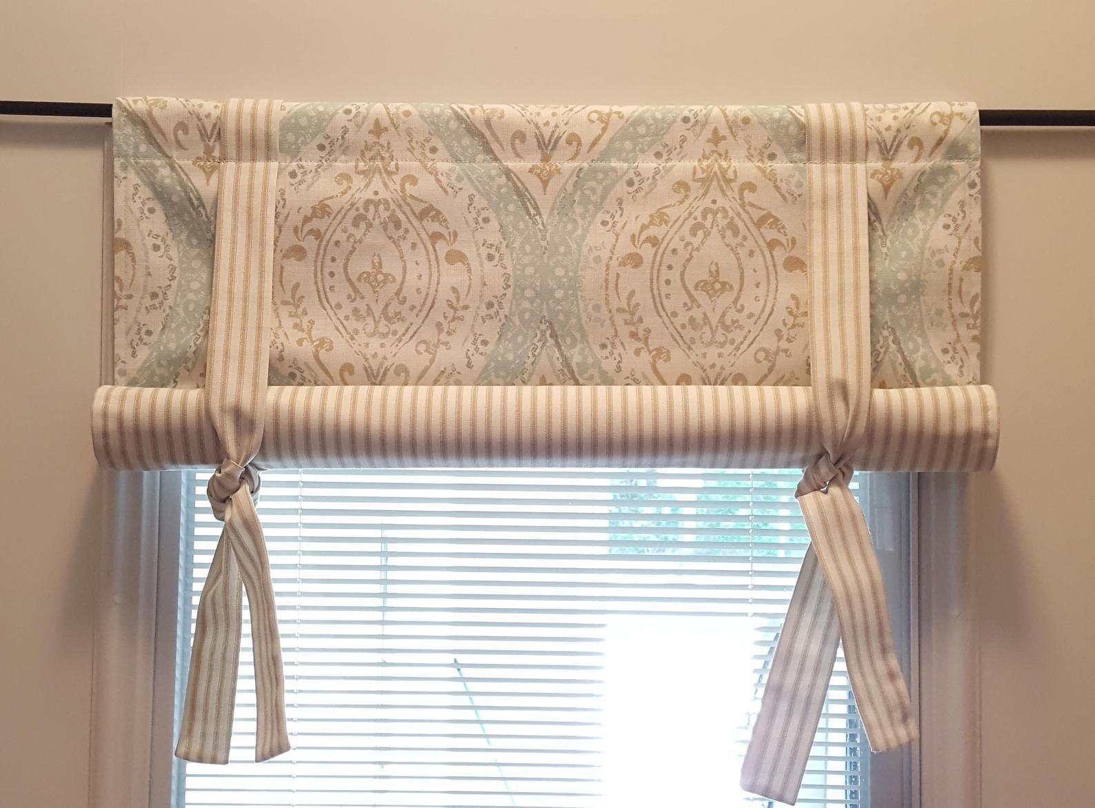 Custom Roll Up Tie Up Valance Magnolia Home Fashions Ariana Spa Fabric In 2020 Tie Up Valance Curtains Diy Curtains