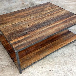 reclaimed wood and iron coffee table Living room