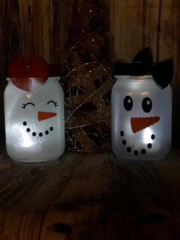 Boy and Girl snowman face Christmas Lanterns 16oz pint size mason jar tea light included #snowman #mason #white #ChristmasDecoration #TeaLights #lanterns #ChristmasDeco #Christmas #jars #GiftsForHer #diychristmas #diy #christmas #mason #jars