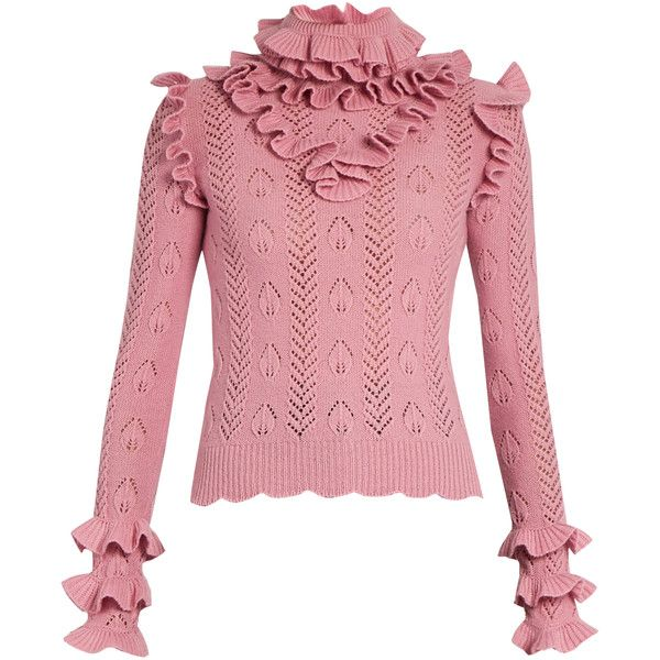 Gucci Ruffle-trimmed pointelle-knit wool sweater (€1.345) ❤ liked ...