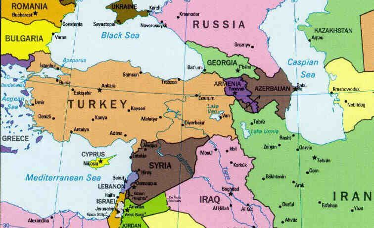 World Map Showing Turkey