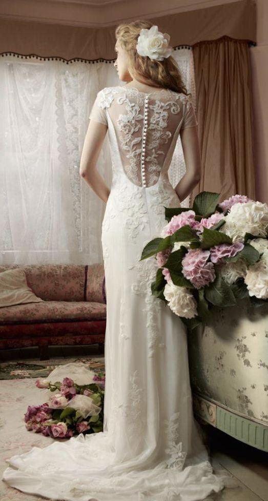 Short Sleeve Sheer Button Down Back Wedding Dress Wedding