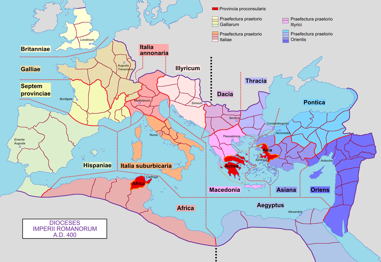 Dioceses of the Roman Empire in 400 AD