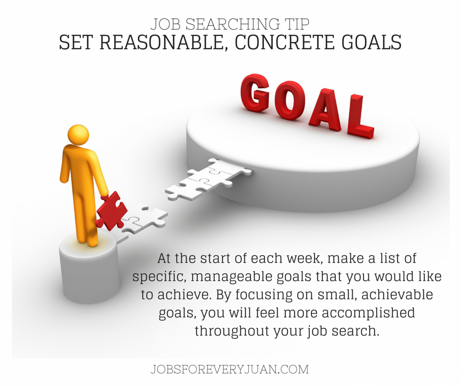 job searching tip of the day set reasonable concrete goals at the start of