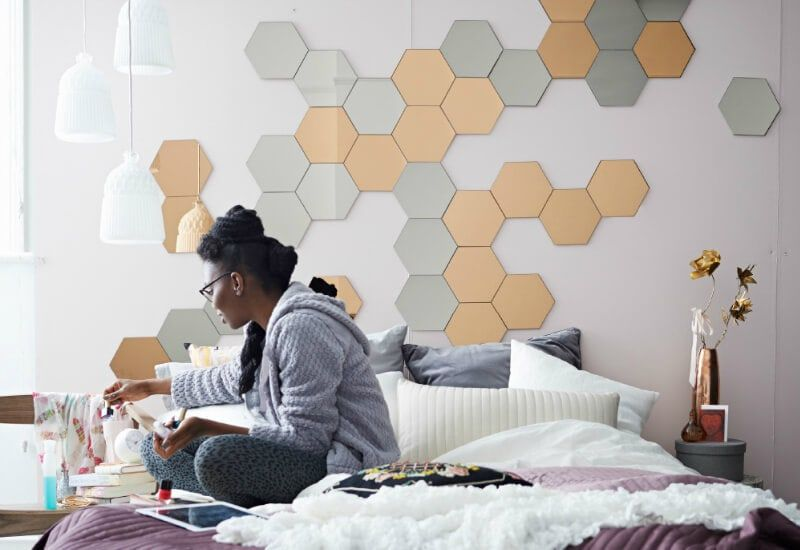 Hexagonal Mirrors Above Ensemble Bed From Ikea Mirror Headboard Ikea Mirror Home Furnishings