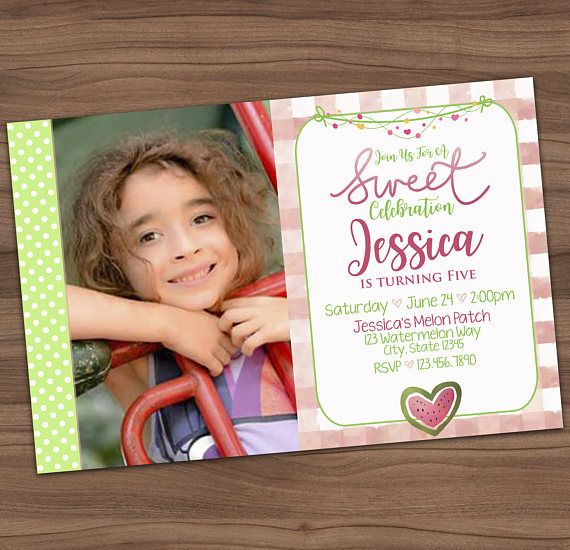 Watermelon Sweet Celebration Invitation - Summer Picnic Birthday Party Photo Invite - BBQ - Printable or Printed - SHIPPING INCLUDED - 4x6