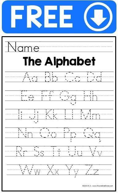 Handwriting Practice Sheets - Alphabet Tracing Handwriting - printing on lined paper