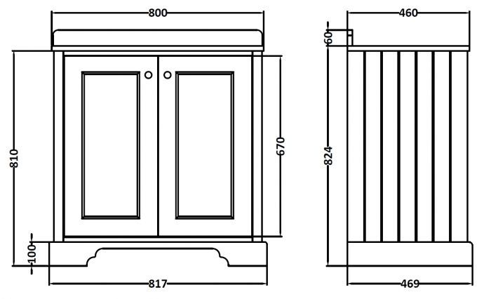 Best Bayswater Stiffkey Blue 800Mm 2 Door Basin Cabinet In 2020 400 x 300