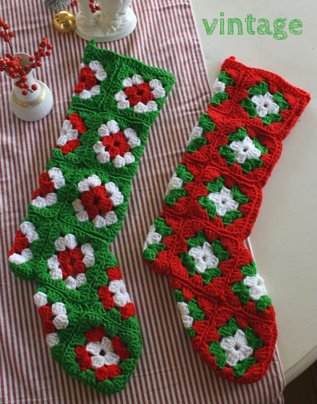 2 matching vintage hand crocheted Christmas stockings made with ...