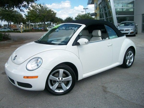 2007 White VW Convertible Beetle Cars and Bikes