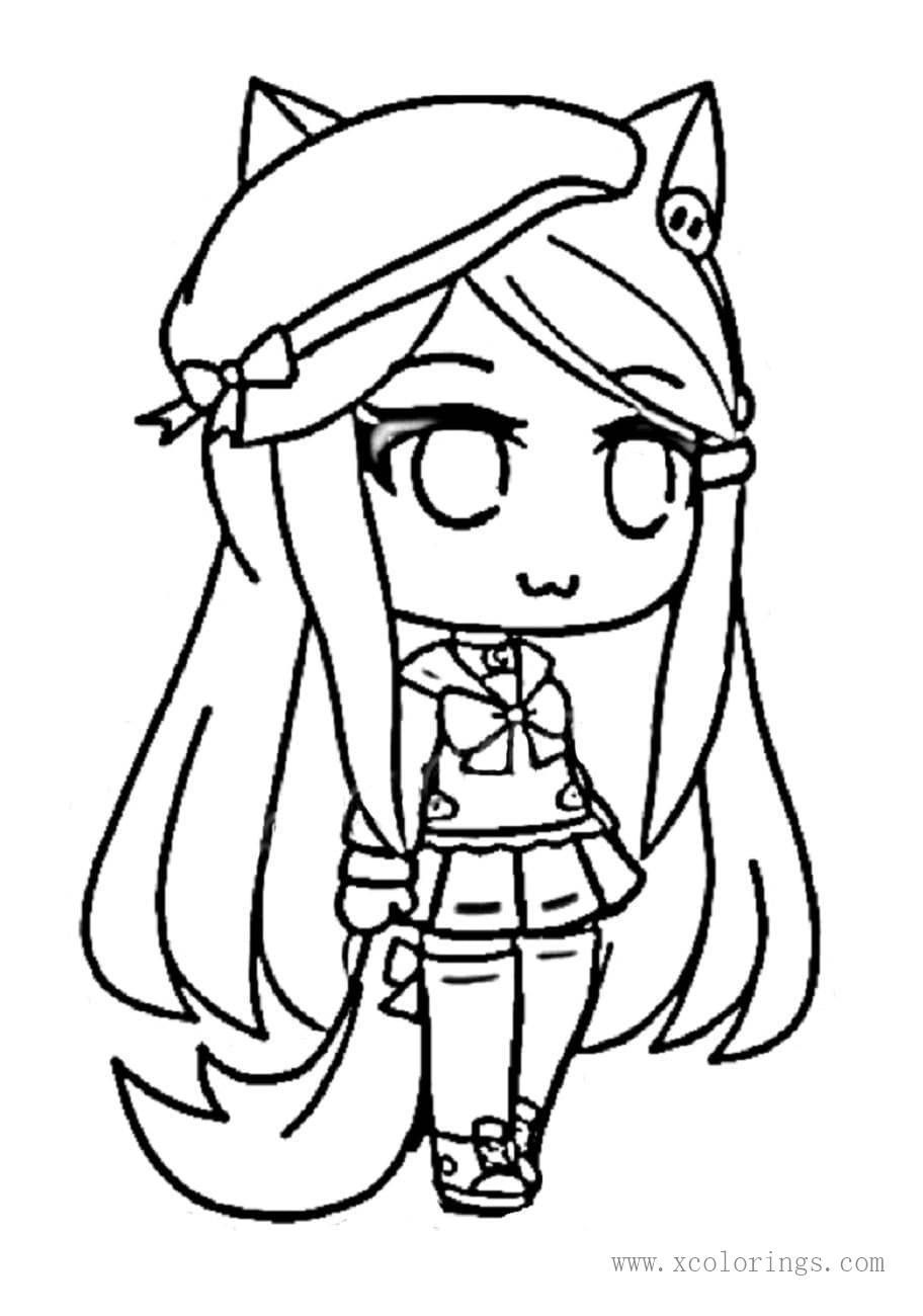 Gacha Life Girl With Hat Coloring Pages Cute Drawings Cute Coloring Pages Animal Coloring Pages