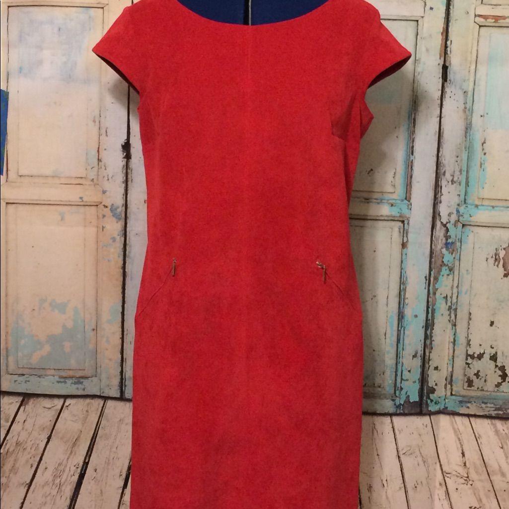 Sharagano Red Corduroy Sheath Dress Size 10