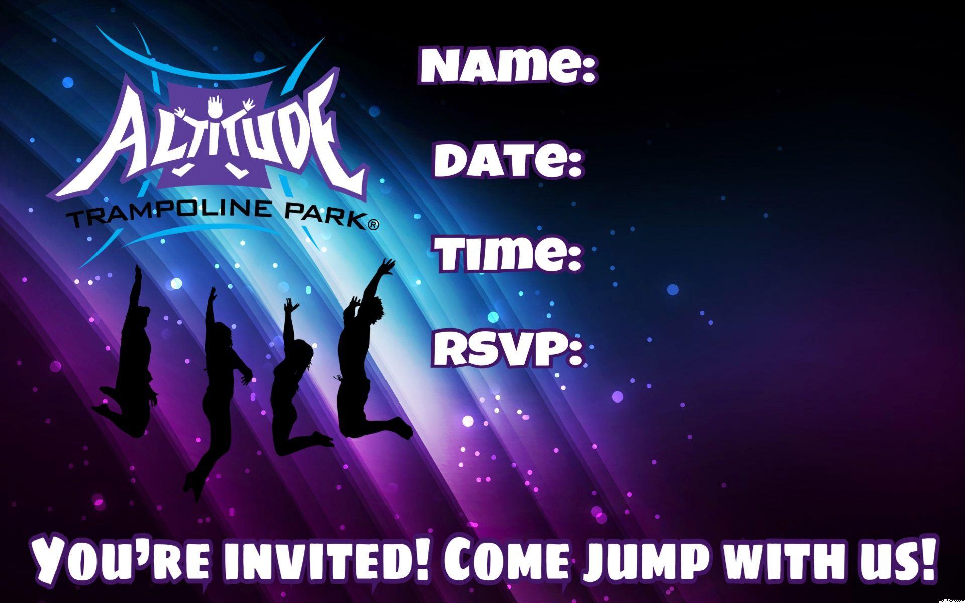Altitude Trampoline Park Invitation Party Guests Birthday Celebration Chloe