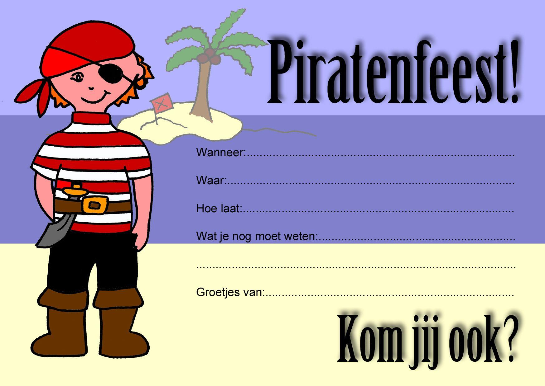 Uitgelezene Uitnodiging piratenfeest. Gratis te downloaden ter voorbereiding SH-15